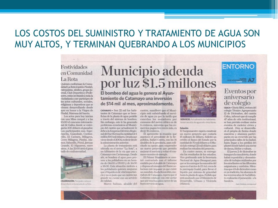 Estado actual de FORAGUA Celica, Loja, Macará, Pindal y Puyango, y NCI crearon el Fondo Regional del Agua (julio 2009).