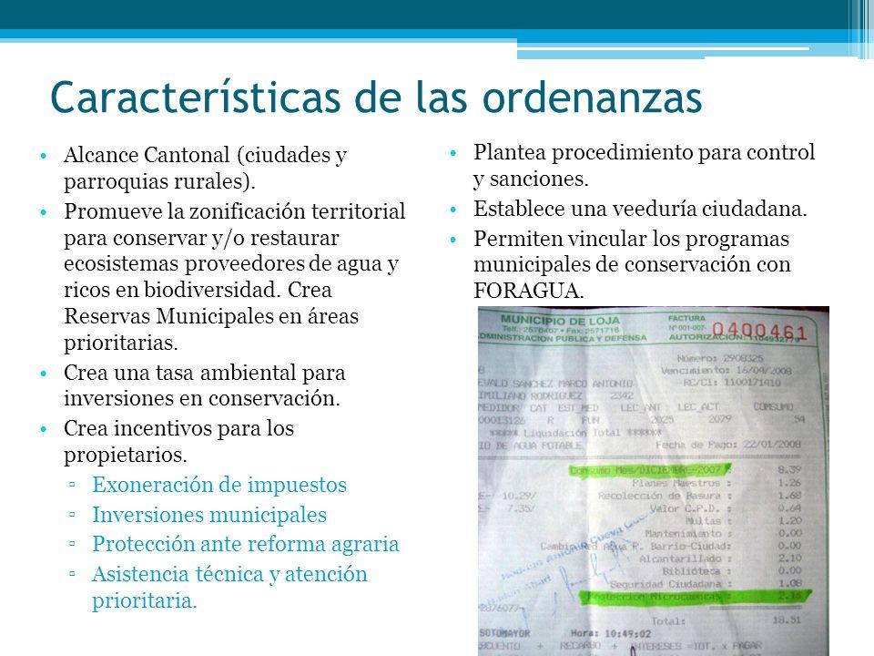 Características de las ordenanzas Alcance Cantonal (ciudades y parroquias rurales). Promueve la zonificación territorial para conservar y/o restaurar
