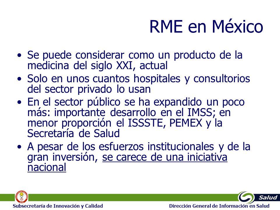 14 Subsecretaría de Innovación y Calidad Dirección General de Información en Salud RME en México Se puede considerar como un producto de la medicina del siglo XXI, actual Solo en unos cuantos hospitales y consultorios del sector privado lo usan En el sector público se ha expandido un poco más: importante desarrollo en el IMSS; en menor proporción el ISSSTE, PEMEX y la Secretaría de Salud A pesar de los esfuerzos institucionales y de la gran inversión, se carece de una iniciativa nacional