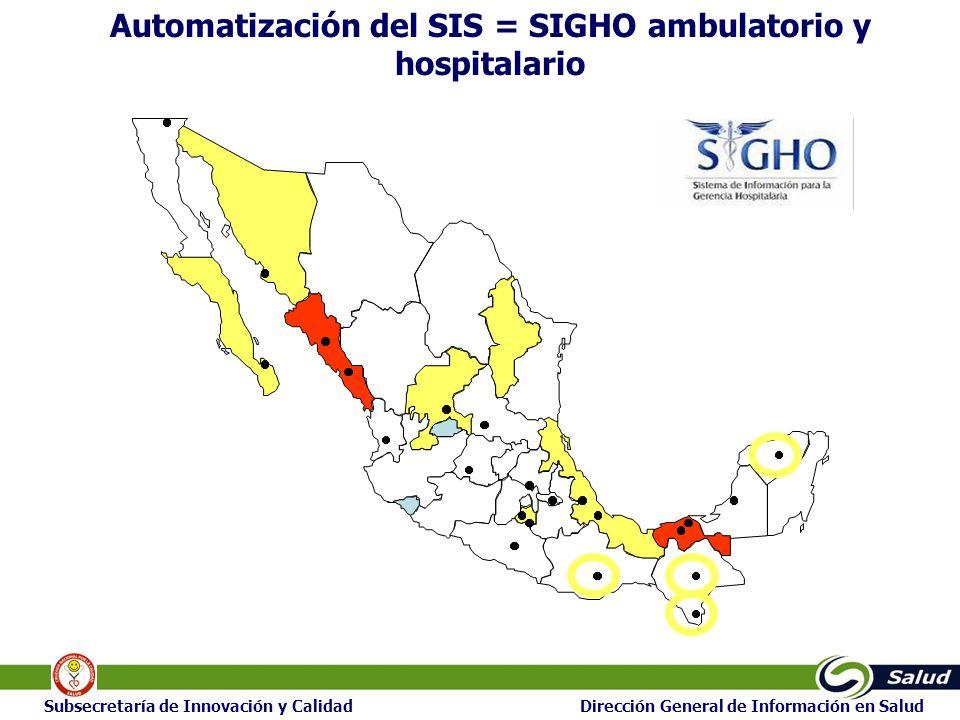 17 Subsecretaría de Innovación y Calidad Dirección General de Información en Salud Automatización del SIS = SIGHO ambulatorio y hospitalario