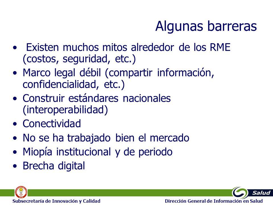 22 Subsecretaría de Innovación y Calidad Dirección General de Información en Salud Algunas barreras Existen muchos mitos alrededor de los RME (costos,