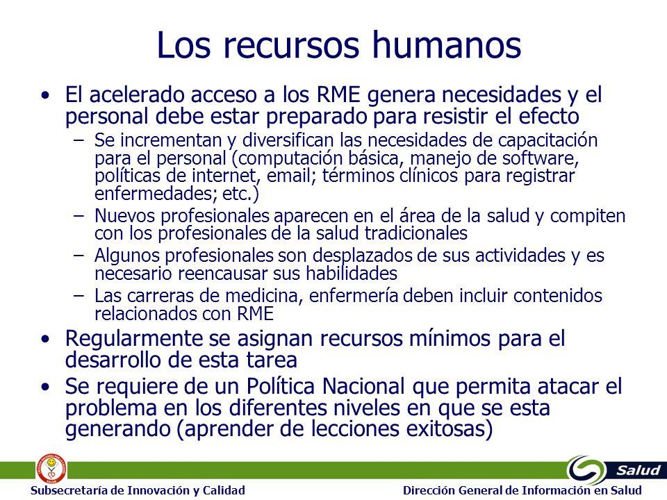 23 Subsecretaría de Innovación y Calidad Dirección General de Información en Salud Los recursos humanos El acelerado acceso a los RME genera necesidad