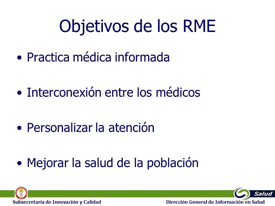 24 Subsecretaría de Innovación y Calidad Dirección General de Información en Salud Objetivos de los RME Practica médica informada Interconexión entre los médicos Personalizar la atención Mejorar la salud de la población