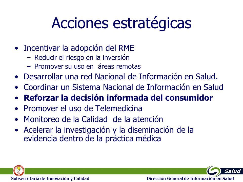 25 Subsecretaría de Innovación y Calidad Dirección General de Información en Salud Acciones estratégicas Incentivar la adopción del RME –Reducir el ri