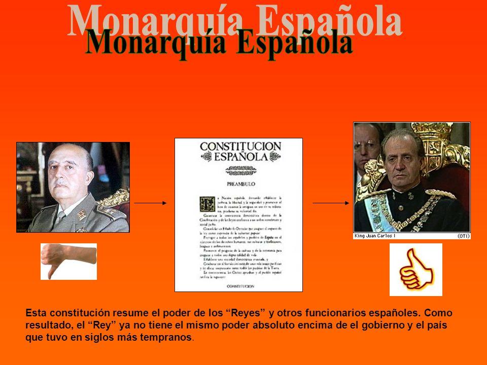 Esta constitución resume el poder de los Reyes y otros funcionarios españoles. Como resultado, el Rey ya no tiene el mismo poder absoluto encima de el
