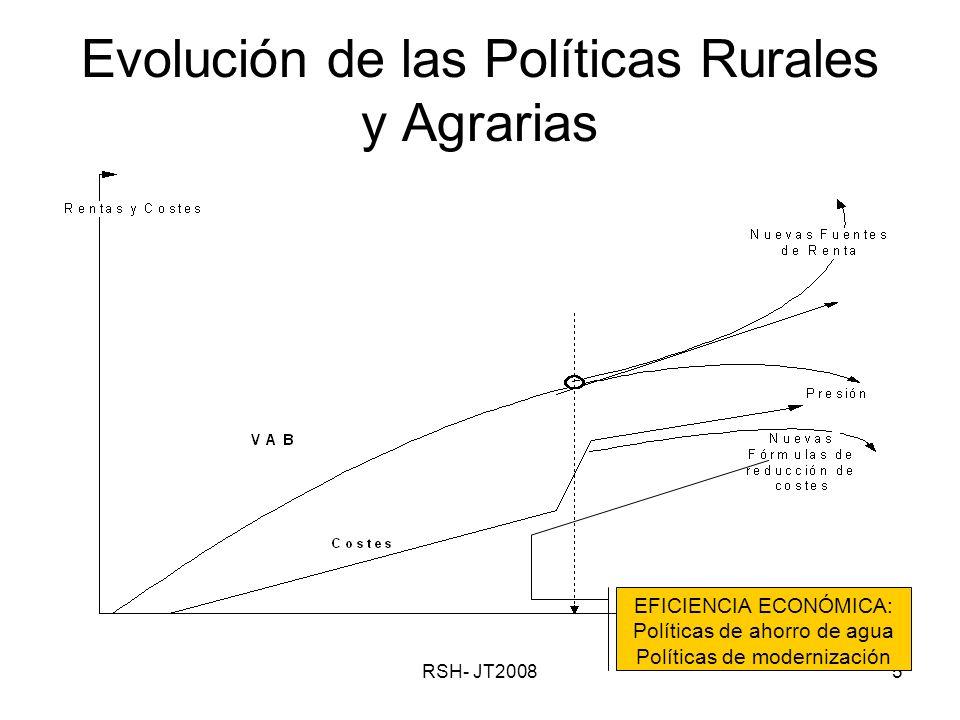 RSH- JT20085 Evolución de las Políticas Rurales y Agrarias EFICIENCIA ECONÓMICA: Políticas de ahorro de agua Políticas de modernización