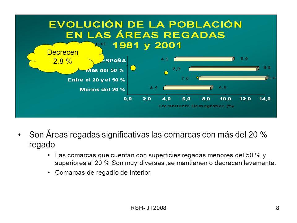 RSH- JT20088 Son Áreas regadas significativas las comarcas con más del 20 % regado Las comarcas que cuentan con superficies regadas menores del 50 % y superiores al 20 % Son muy diversas,se mantienen o decrecen levemente.