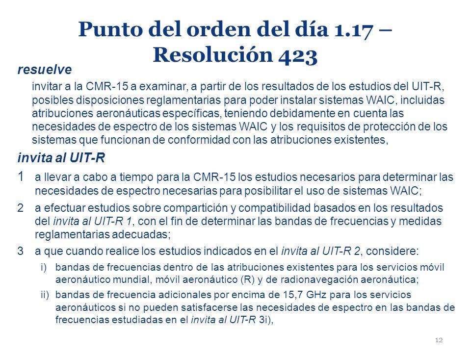 12 Punto del orden del día 1.17 – Resolución 423 resuelve invitar a la CMR-15 a examinar, a partir de los resultados de los estudios del UIT-R, posibl