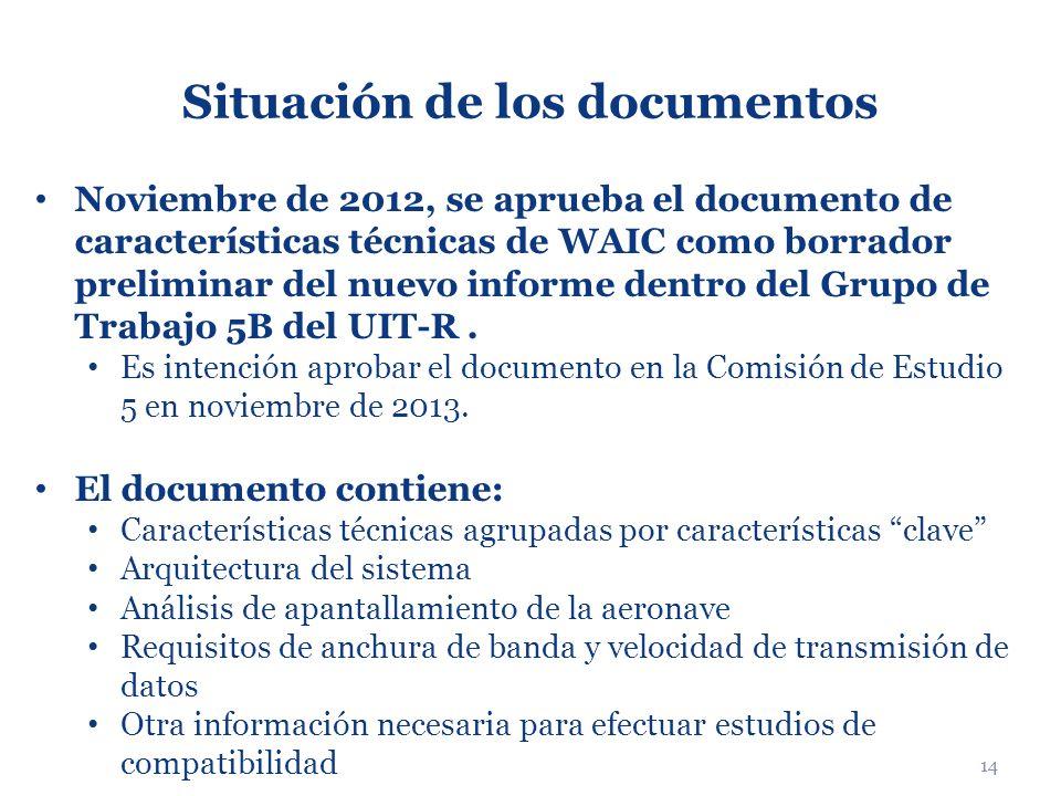 14 Situación de los documentos Noviembre de 2012, se aprueba el documento de características técnicas de WAIC como borrador preliminar del nuevo infor