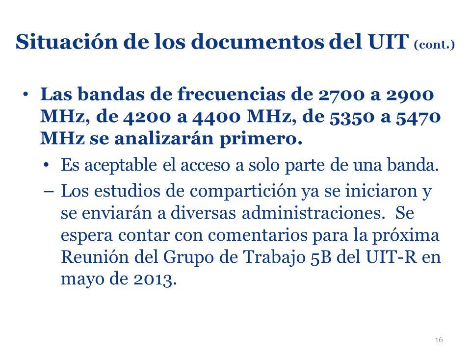 16 Situación de los documentos del UIT (cont.) Las bandas de frecuencias de 2700 a 2900 MHz, de 4200 a 4400 MHz, de 5350 a 5470 MHz se analizarán prim