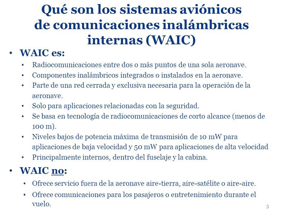 3 Qué son los sistemas aviónicos de comunicaciones inalámbricas internas (WAIC) WAIC es: Radiocomunicaciones entre dos o más puntos de una sola aerona