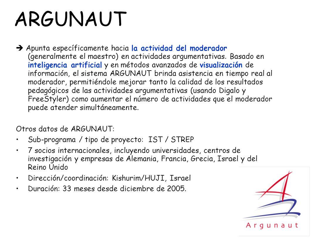 ARGUNAUT Apunta específicamente hacia la actividad del moderador (generalmente el maestro) en actividades argumentativas. Basado en inteligencia artif
