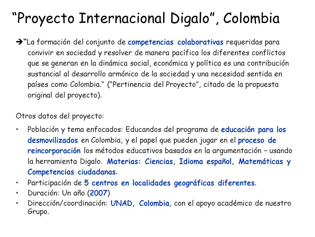 Proyecto Internacional Digalo, Colombia La formación del conjunto de competencias colaborativas requeridas para convivir en sociedad y resolver de man