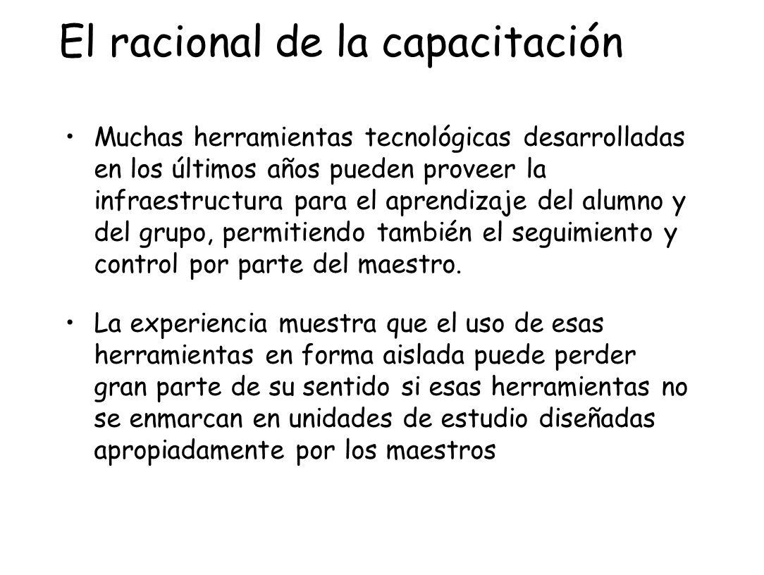 El racional de la capacitación Muchas herramientas tecnológicas desarrolladas en los últimos años pueden proveer la infraestructura para el aprendizaj