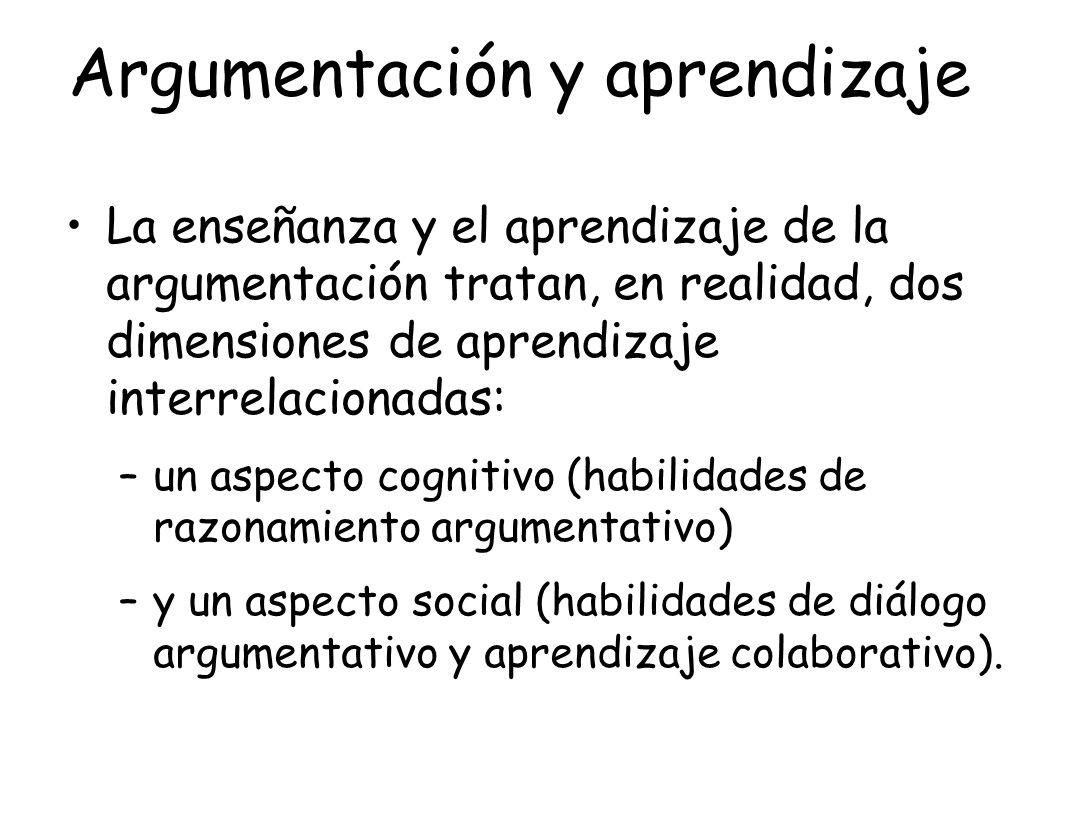Argumentación y aprendizaje La enseñanza y el aprendizaje de la argumentación tratan, en realidad, dos dimensiones de aprendizaje interrelacionadas: –
