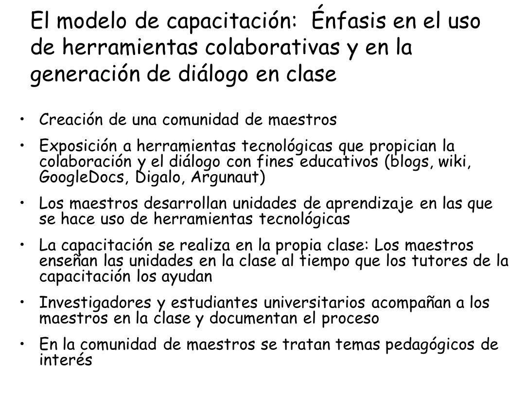 El modelo de capacitación: Énfasis en el uso de herramientas colaborativas y en la generación de diálogo en clase Creación de una comunidad de maestro