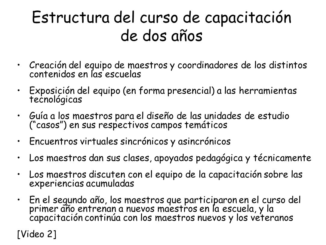 Estructura del curso de capacitación de dos años Creación del equipo de maestros y coordinadores de los distintos contenidos en las escuelas Exposició