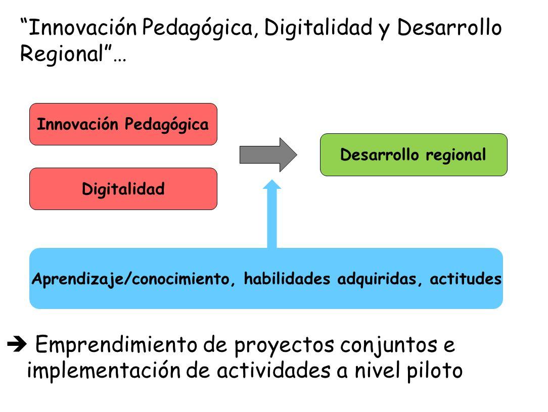 Innovación Pedagógica, Digitalidad y Desarrollo Regional… Emprendimiento de proyectos conjuntos e implementación de actividades a nivel piloto Innovac