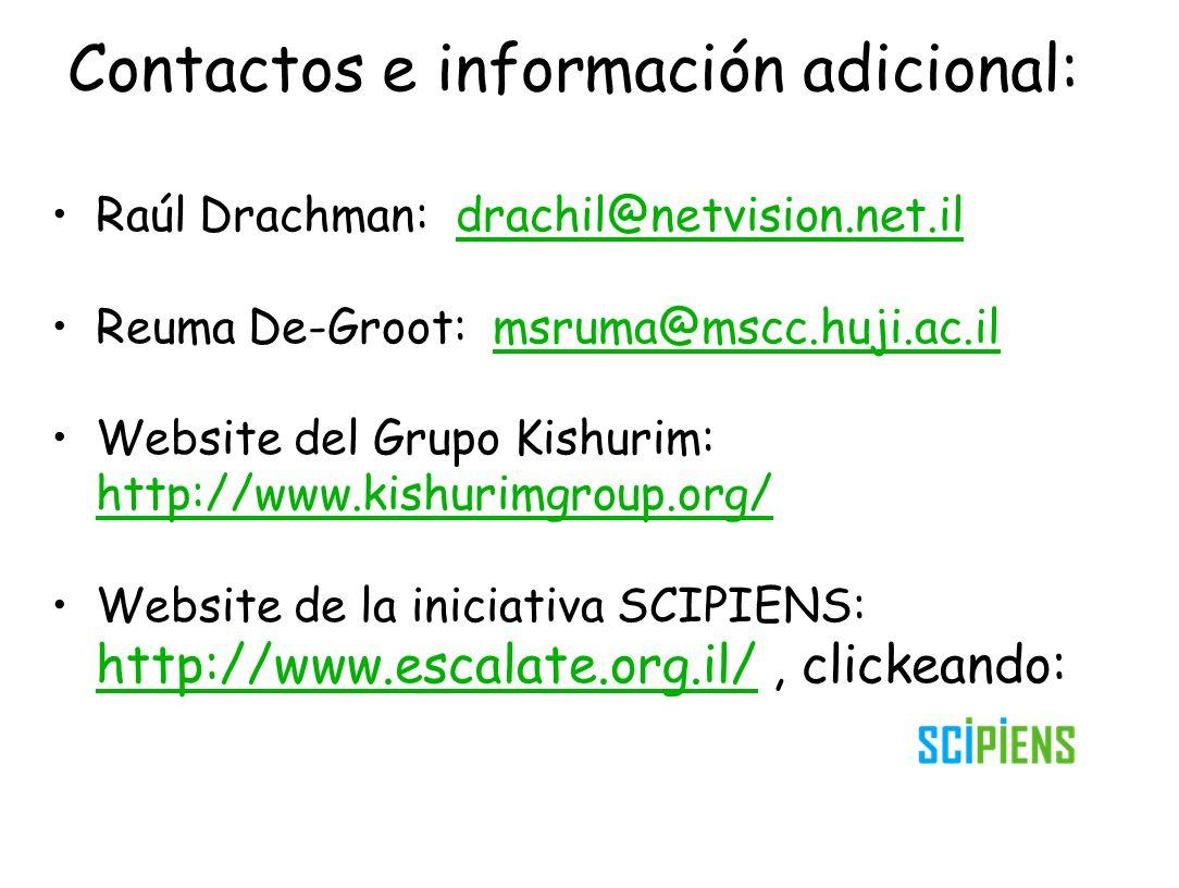 Contactos e información adicional: Raúl Drachman: drachil@netvision.net.ildrachil@netvision.net.il Reuma De-Groot: msruma@mscc.huji.ac.ilmsruma@mscc.h