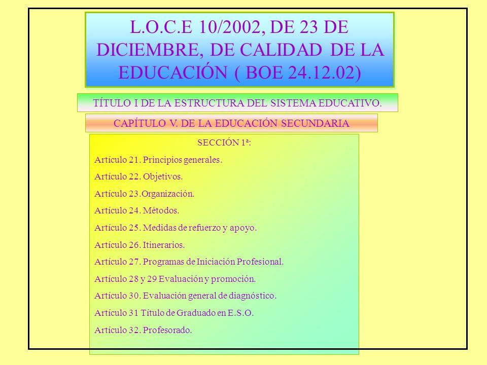 L.O.C.E 10/2002, DE 23 DE DICIEMBRE, DE CALIDAD DE LA EDUCACIÓN ( BOE 24.12.02) L.O.C.E 10/2002, DE 23 DE DICIEMBRE, DE CALIDAD DE LA EDUCACIÓN ( BOE