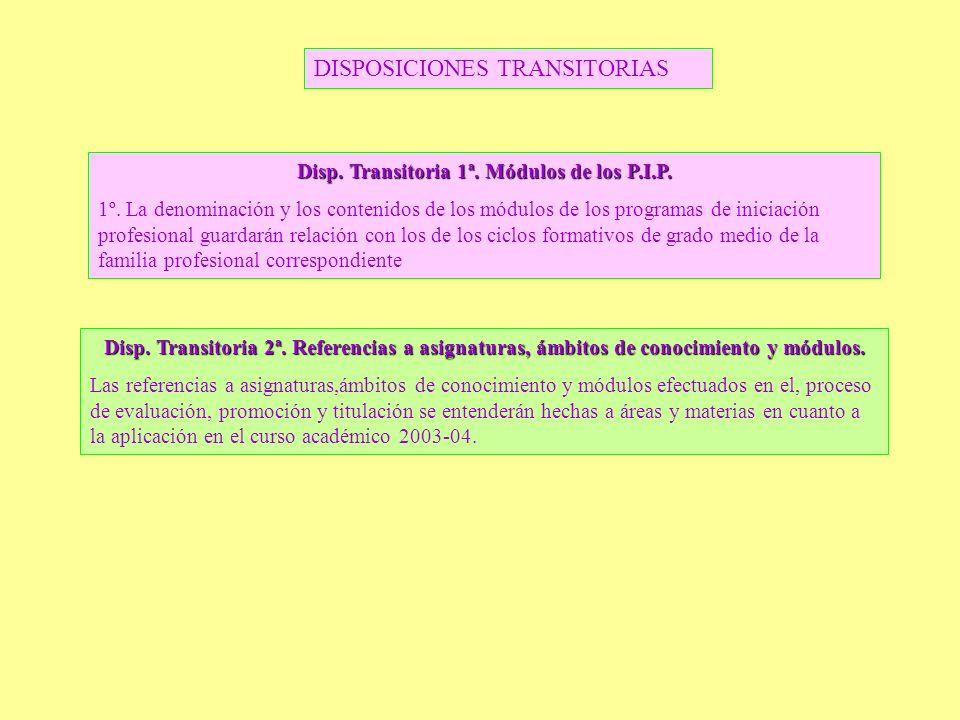 Disp. Transitoria 1ª. Módulos de los P.I.P. 1º. La denominación y los contenidos de los módulos de los programas de iniciación profesional guardarán r