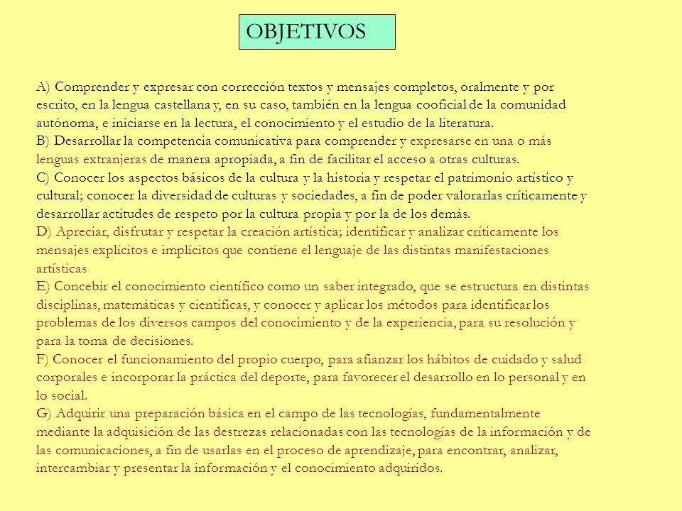 OBJETIVOS A) Comprender y expresar con corrección textos y mensajes completos, oralmente y por escrito, en la lengua castellana y, en su caso, también