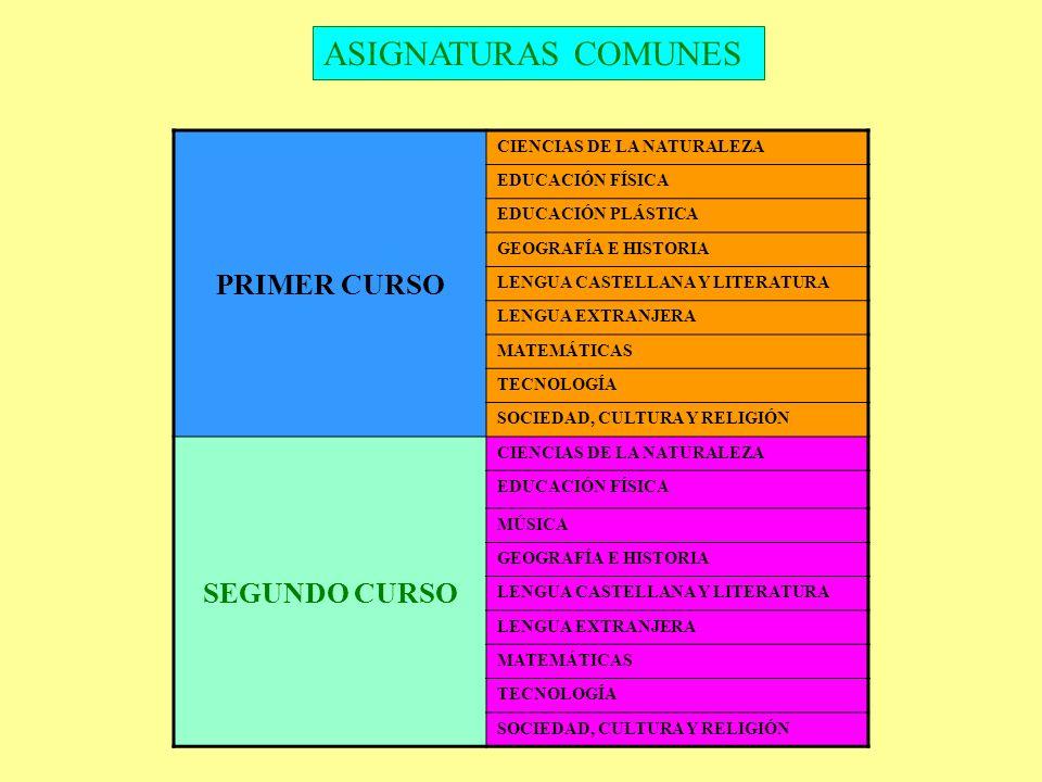 ASIGNATURAS COMUNES PRIMER CURSO CIENCIAS DE LA NATURALEZA EDUCACIÓN FÍSICA EDUCACIÓN PLÁSTICA GEOGRAFÍA E HISTORIA LENGUA CASTELLANA Y LITERATURA LEN