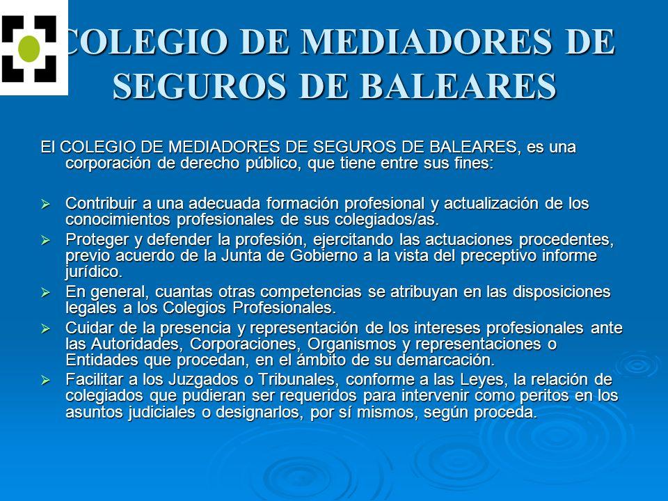 COLEGIO DE MEDIADORES DE SEGUROS DE BALEARES El COLEGIO DE MEDIADORES DE SEGUROS DE BALEARES, es una corporación de derecho público, que tiene entre sus fines: Contribuir a una adecuada formación profesional y actualización de los conocimientos profesionales de sus colegiados/as.