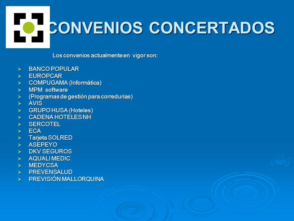 CONVENIOS CONCERTADOS CONVENIOS CONCERTADOS Los convenios actualmente en vigor son: Los convenios actualmente en vigor son: BANCO POPULAR BANCO POPULAR EUROPCAR EUROPCAR COMPUGAMA (Informática) COMPUGAMA (Informática) MPM software MPM software (Programas de gestión para corredurías) (Programas de gestión para corredurías) AVIS AVIS GRUPO HUSA (Hoteles) GRUPO HUSA (Hoteles) CADENA HOTELES NH CADENA HOTELES NH SERCOTEL SERCOTEL ECA ECA Tarjeta SOLRED Tarjeta SOLRED ASEPEYO ASEPEYO DKV SEGUROS DKV SEGUROS AQUALI MEDIC AQUALI MEDIC MEDYCSA MEDYCSA PREVENSALUD PREVENSALUD PREVISIÓN MALLORQUINA PREVISIÓN MALLORQUINA