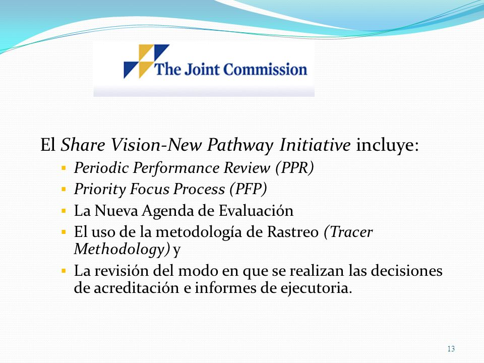 El Share Vision-New Pathway Initiative incluye: Periodic Performance Review (PPR) Priority Focus Process (PFP) La Nueva Agenda de Evaluación El uso de