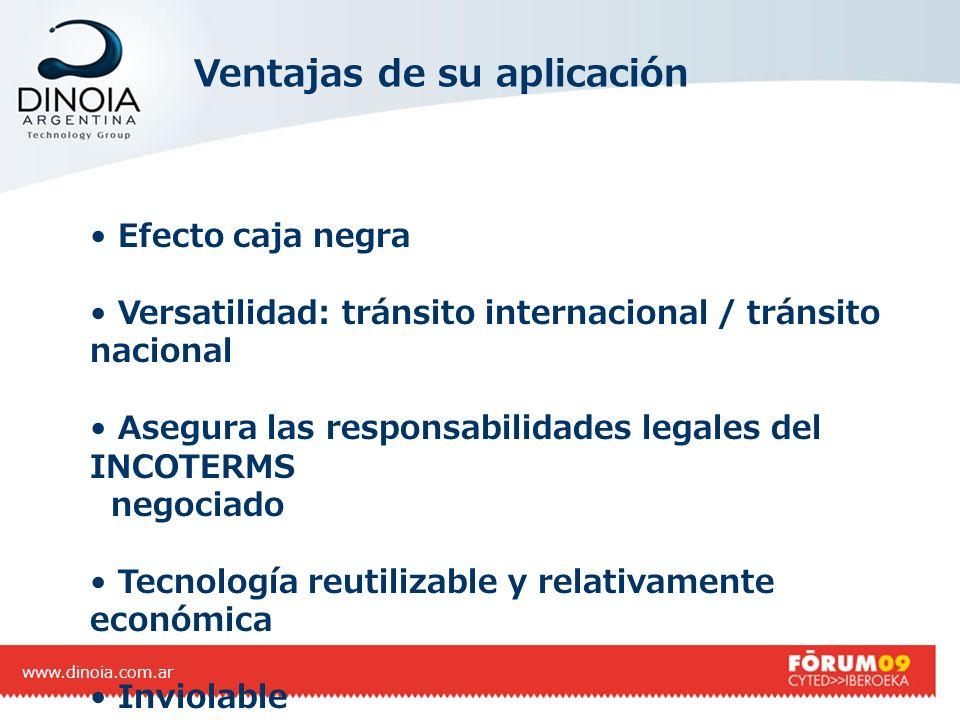 Ventajas de su aplicación www.dinoia.com.ar Efecto caja negra Versatilidad: tránsito internacional / tránsito nacional Asegura las responsabilidades l