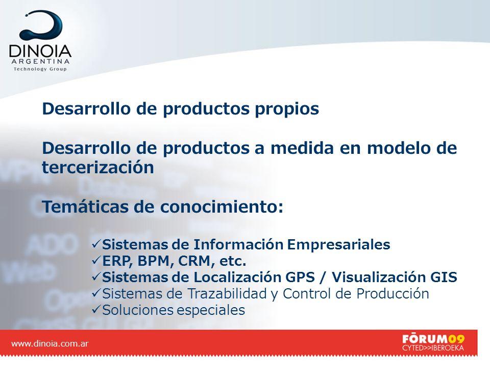 Desarrollo de productos propios Desarrollo de productos a medida en modelo de tercerización Temáticas de conocimiento: Sistemas de Información Empresa