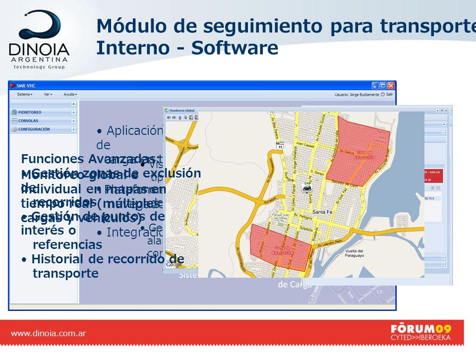 Módulo de seguimiento para transporte Interno - Software www.dinoia.com.ar Aplicación para monitoreo de transporte y estado de carga en tiempo real. P