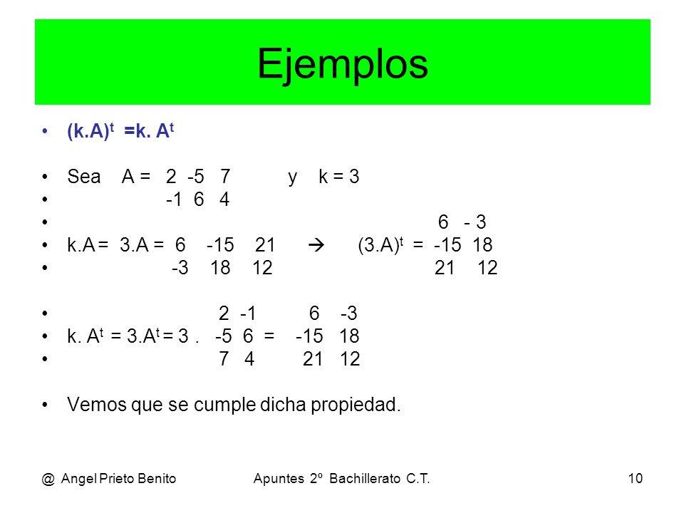 @ Angel Prieto BenitoApuntes 2º Bachillerato C.T.10 Ejemplos (k.A) t =k. A t Sea A = 2 -5 7 y k = 3 -1 6 4 6 - 3 k.A = 3.A = 6 -15 21 (3.A) t = -15 18