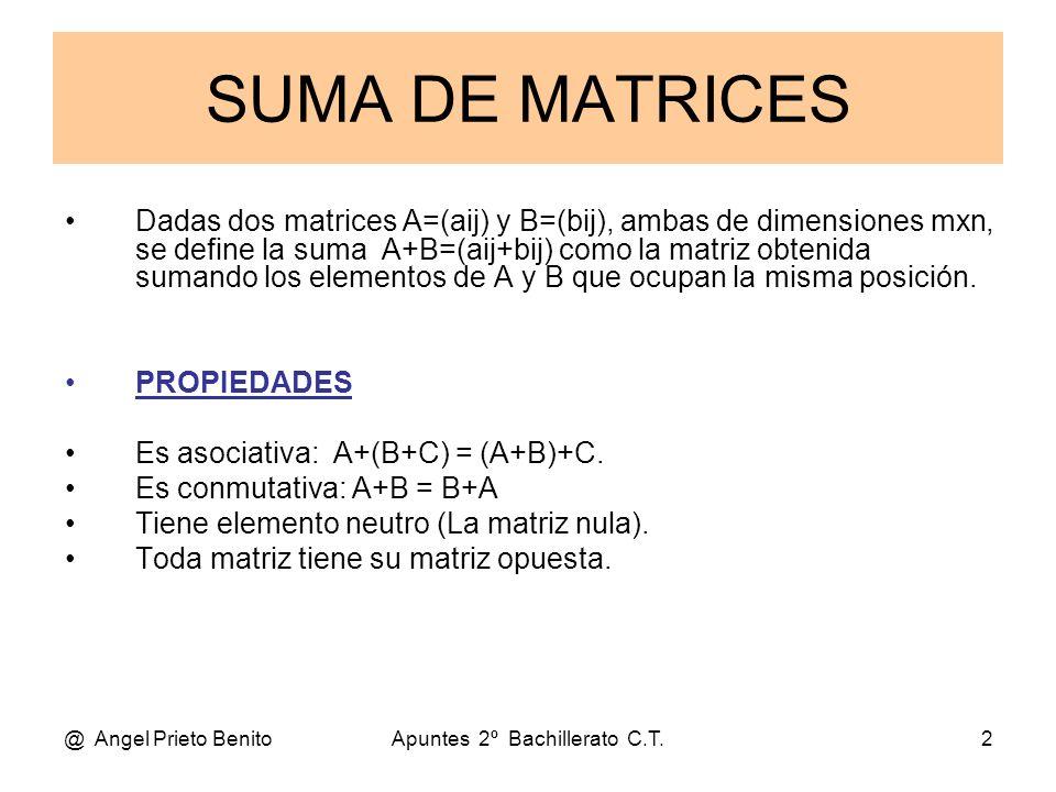 @ Angel Prieto BenitoApuntes 2º Bachillerato C.T.2 SUMA DE MATRICES Dadas dos matrices A=(aij) y B=(bij), ambas de dimensiones mxn, se define la suma
