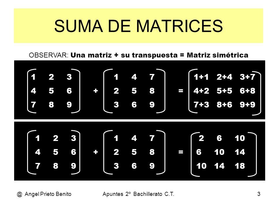 @ Angel Prieto BenitoApuntes 2º Bachillerato C.T.3 SUMA DE MATRICES 1 2 3 4 5 6 7 8 9 1 4 7 + 2 5 8 3 6 9 1+1 2+4 3+7 = 4+2 5+5 6+8 7+3 8+6 9+9 OBSERV