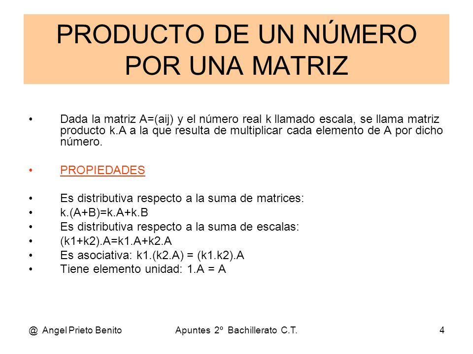 @ Angel Prieto BenitoApuntes 2º Bachillerato C.T.4 PRODUCTO DE UN NÚMERO POR UNA MATRIZ Dada la matriz A=(aij) y el número real k llamado escala, se l