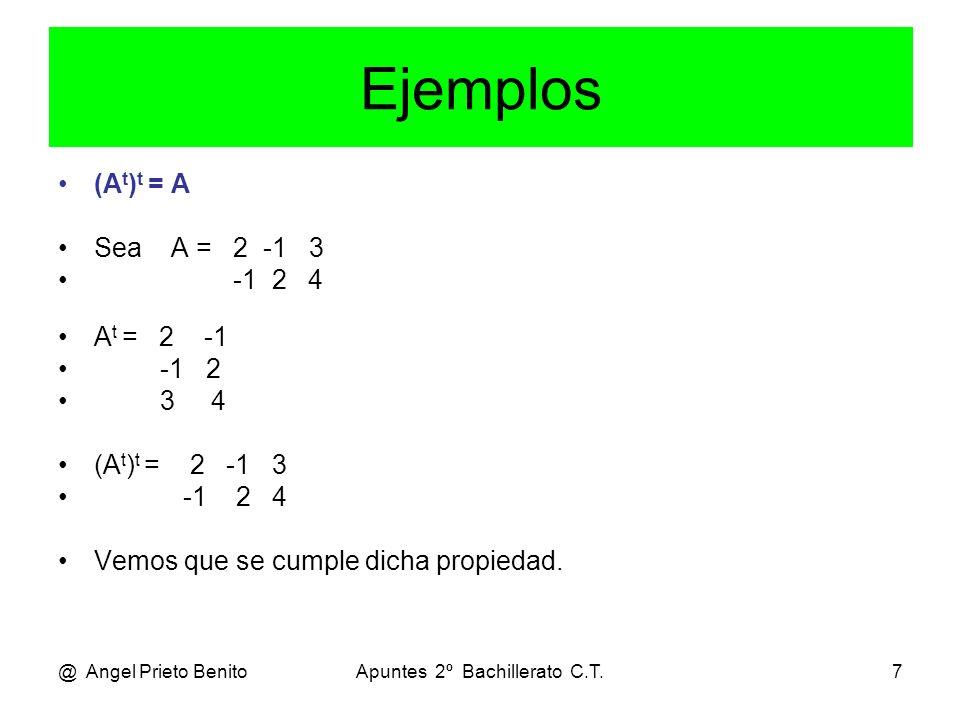 @ Angel Prieto BenitoApuntes 2º Bachillerato C.T.7 Ejemplos (A t ) t = A Sea A = 2 -1 3 -1 2 4 A t = 2 -1 -1 2 3 4 (A t ) t = 2 -1 3 -1 2 4 Vemos que