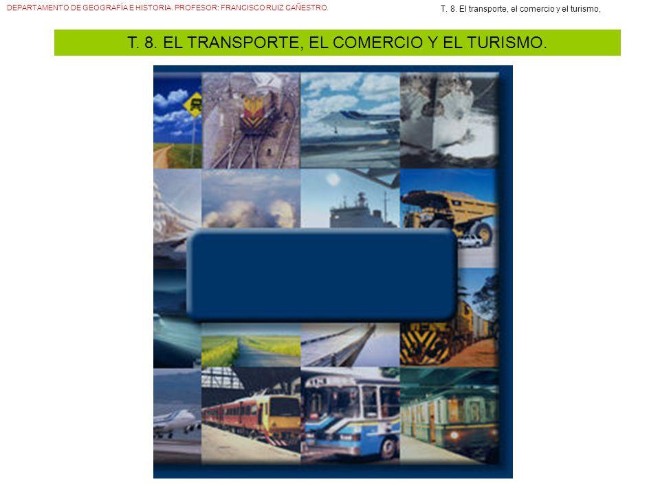DEPARTAMENTO DE GEOGRAFÍA E HISTORIA. PROFESOR: FRANCISCO RUIZ CAÑESTRO. T. 8. El transporte, el comercio y el turismo, T. 8. EL TRANSPORTE, EL COMERC