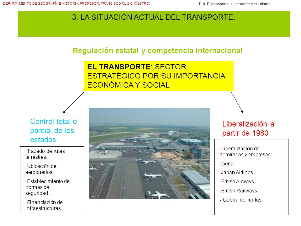 DEPARTAMENTO DE GEOGRAFÍA E HISTORIA. PROFESOR: FRANCISCO RUIZ CAÑESTRO. T. 8. El transporte, el comercio y el turismo, 3. LA SITUACIÓN ACTUAL DEL TRA