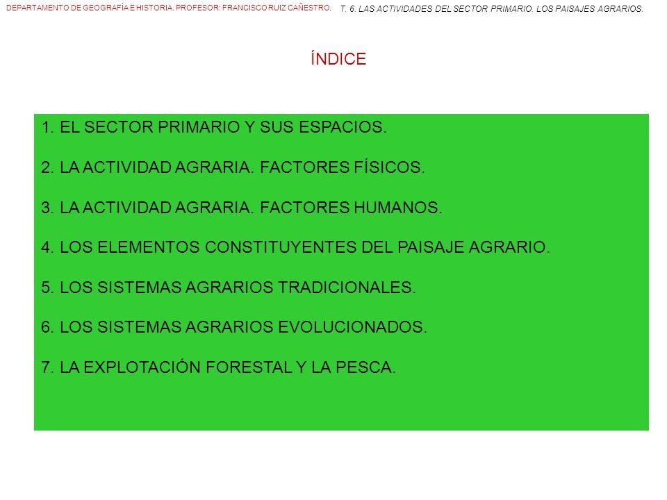 ÍNDICE 1. EL SECTOR PRIMARIO Y SUS ESPACIOS. 2. LA ACTIVIDAD AGRARIA.