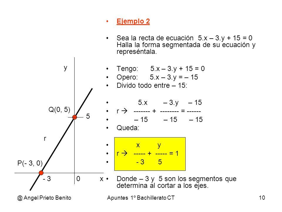 @ Angel Prieto BenitoApuntes 1º Bachillerato CT10 Ejemplo 2 Sea la recta de ecuación 5.x – 3.y + 15 = 0 Halla la forma segmentada de su ecuación y rep