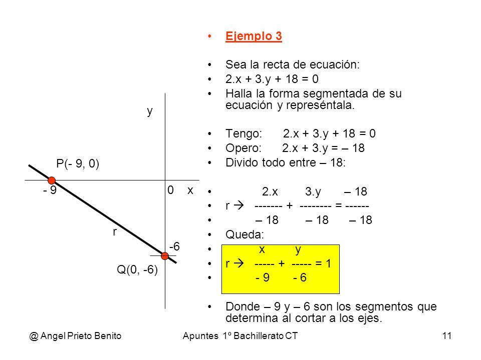 @ Angel Prieto BenitoApuntes 1º Bachillerato CT11 Ejemplo 3 Sea la recta de ecuación: 2.x + 3.y + 18 = 0 Halla la forma segmentada de su ecuación y re