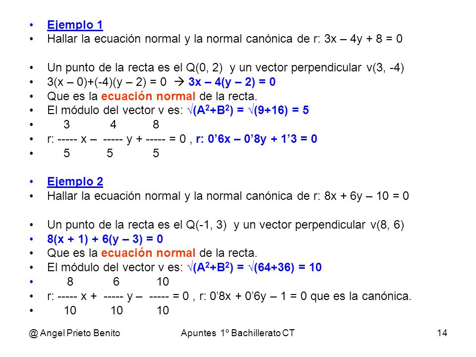 @ Angel Prieto BenitoApuntes 1º Bachillerato CT14 Ejemplo 1 Hallar la ecuación normal y la normal canónica de r: 3x – 4y + 8 = 0 Un punto de la recta