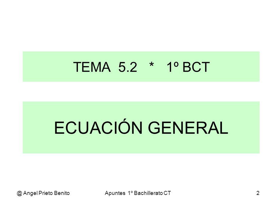 @ Angel Prieto BenitoApuntes 1º Bachillerato CT2 ECUACIÓN GENERAL TEMA 5.2 * 1º BCT