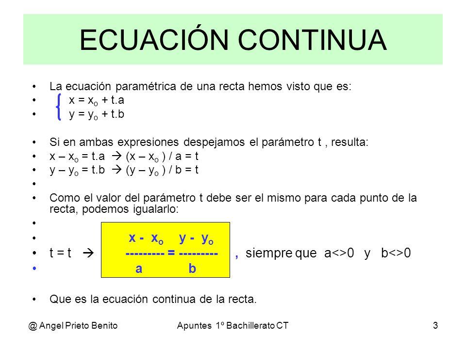 @ Angel Prieto BenitoApuntes 1º Bachillerato CT3 La ecuación paramétrica de una recta hemos visto que es: x = x o + t.a y = y o + t.b Si en ambas expr