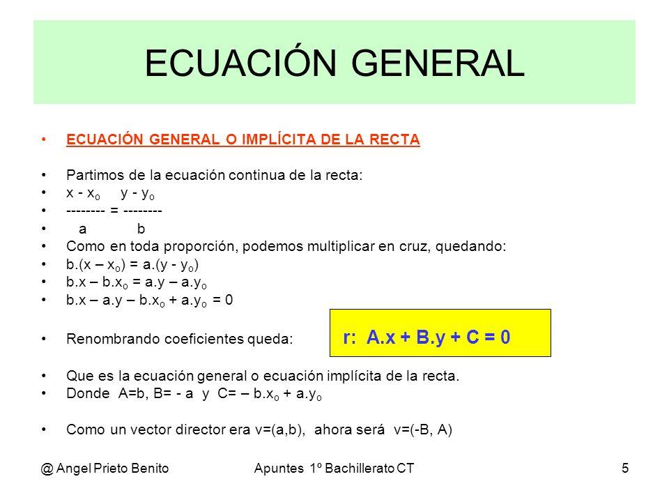 @ Angel Prieto BenitoApuntes 1º Bachillerato CT5 ECUACIÓN GENERAL O IMPLÍCITA DE LA RECTA Partimos de la ecuación continua de la recta: x - x o y - y