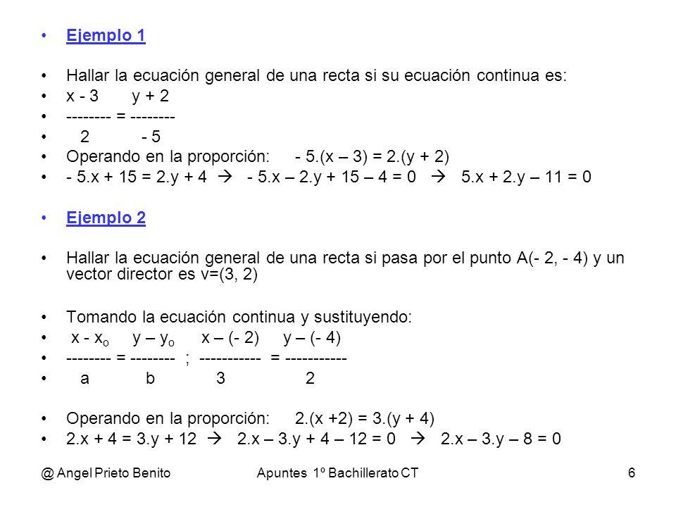 @ Angel Prieto BenitoApuntes 1º Bachillerato CT6 Ejemplo 1 Hallar la ecuación general de una recta si su ecuación continua es: x - 3 y + 2 -------- =