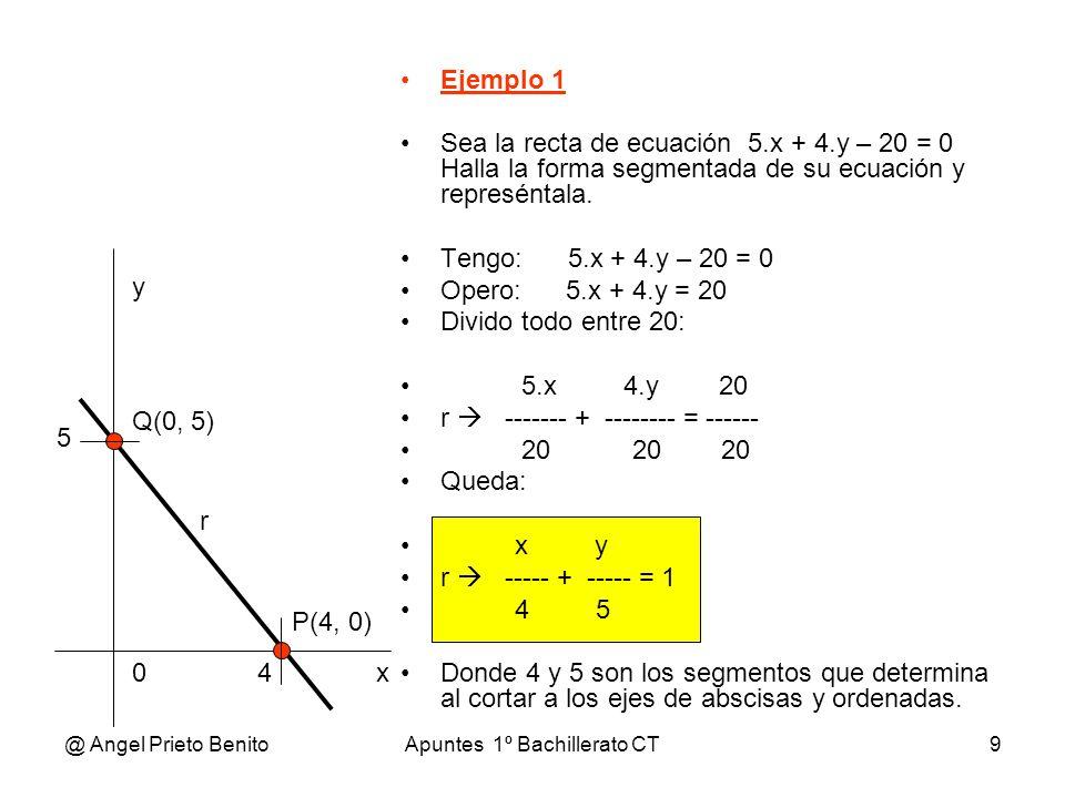 @ Angel Prieto BenitoApuntes 1º Bachillerato CT9 Ejemplo 1 Sea la recta de ecuación 5.x + 4.y – 20 = 0 Halla la forma segmentada de su ecuación y repr