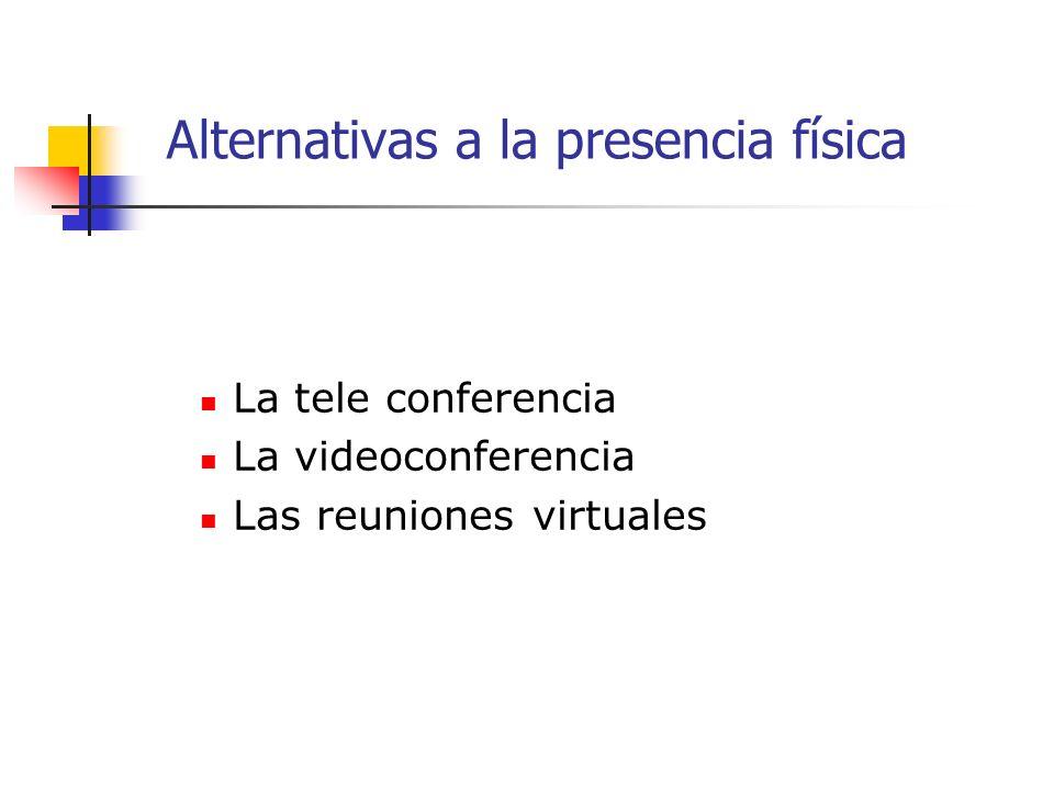 La tele conferencia La videoconferencia Las reuniones virtuales Alternativas a la presencia física